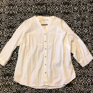 Kim Rogers Ruffled white button up